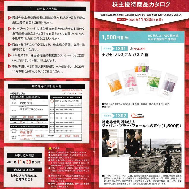 長瀬産業(8012)の株主優待カタログ