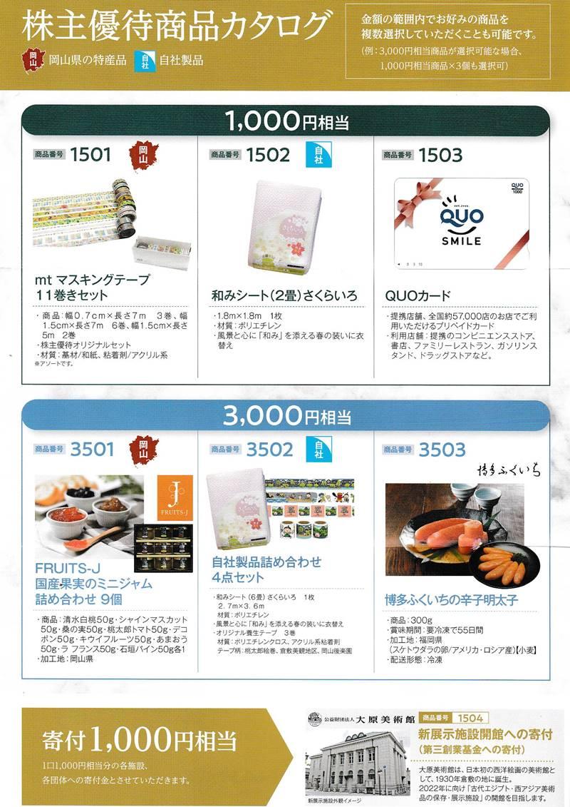 萩原工業(7856)の株主優待の案内(株主優待商品カタログ)