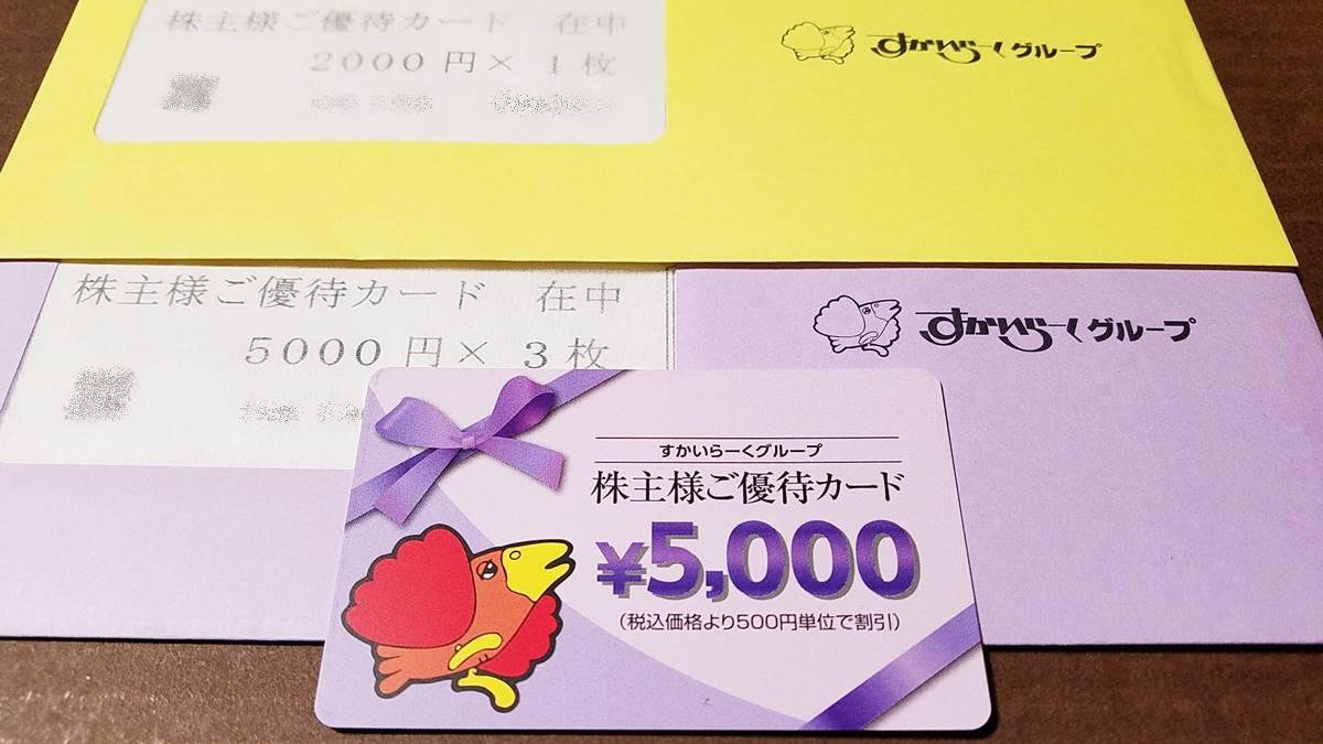 すかいらーくホールディングス(3197)の到着した株主優待券(優待カード)