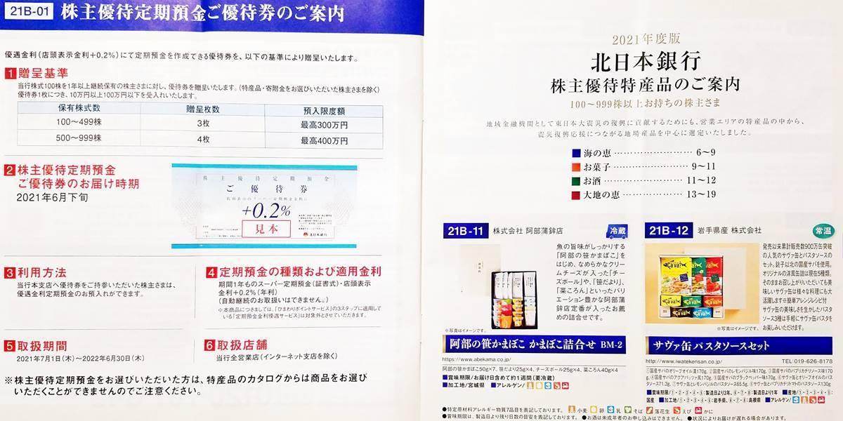 北日本銀行(8551)の株主優待カタログ2021年